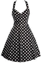 Ensnovo Womens Halterneck Rockabilly Vintage Style 50s Prom Dresses Swing ,XXL