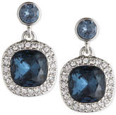 Givenchy Silver-Tone Dark Blue Crystal and Pave Drop Earrings