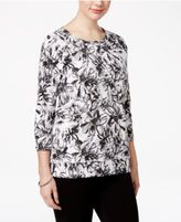 Karen Scott Floral-Print Active Sweatshirt, Created for Macy's