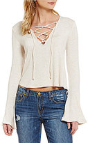 GB Lace-Up Bell-Sleeve Peasant Top