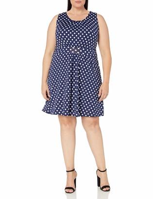 Star Vixen Women's Plus-Size Sleeveless Banded Skater Waist Bodice and Shirred Skirt Short Ity Dress