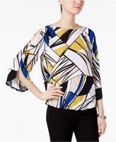 Kasper Printed Split-Sleeve Blouson Top