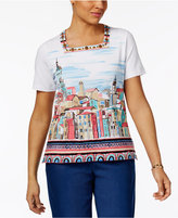 Alfred Dunner Scenic-Print Beaded-Neck Top