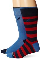Nautica Men's 2-Pack Classics Dress Casual Rugby Stripe Crew Socks