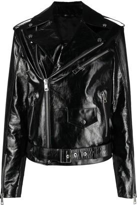 Manokhi Off-Centre Leather Jacket
