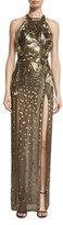 J. Mendel Metallic Calla Lily-Embellished Halter Gown, Gold