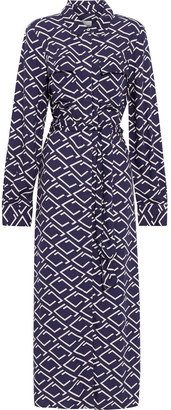 Iris & Ink Amelia Printed Brushed-twill Maxi Shirt Dress