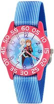 Disney Girl's 'Frozen' Quartz Plastic and Nylon Watch, Color:Blue (Model: W002986)