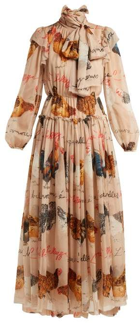 Dolce & Gabbana Hen And Calligraphy Printed Silk Gown - Womens - Beige Multi