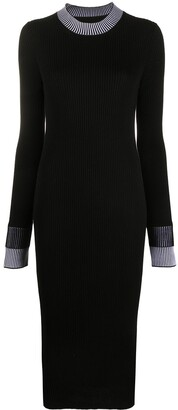 Maison Margiela Fitted Ribbed Knit Midi Dress