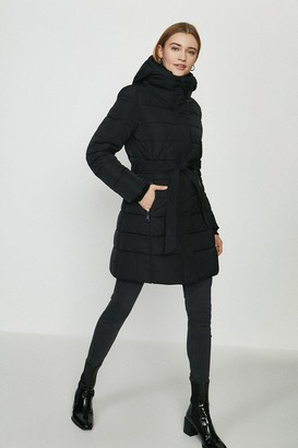 Coast Hooded Puffer Coat With Tie Belt