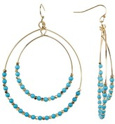 Cara Accessories Turquoise Beaded Double Hoop Dangle Earrings