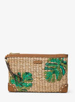Michael Kors Malibu Extra-Large Palm Embroidered Straw Clutch