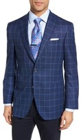 David Donahue Men's Connor Classic Fit Windowpane Wool Sport Coat