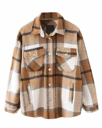 Crazy Girls New Womens Checked Fleece Oversized Baggy Collared Shirt Winter Jacket Shacket Ladies Long Sleeve Shirt Top Coat Tunic