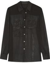 Alexander Wang Embroidered Silk-chiffon Blouse - Black