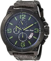 Adee Kaye Men's Quartz Stainless Steel and Leather Dress Watch, Color:Black (Model: AK8896-MIPB-GN / LB)