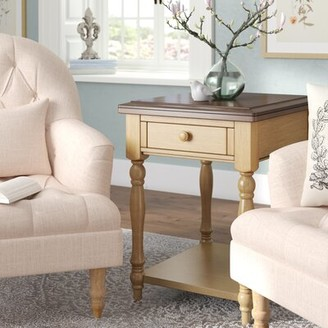 Three Posts Tadeo Solid Wood End Table With Storage Color: Almond / Wheat