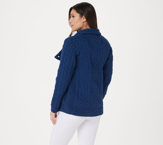 Aran Craft Merino Wool Asymmetrical Zip-Front Sweater