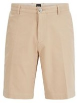 HUGO BOSS - Slim Fit Shorts In Stretch Cotton With French Pocket - Dark Blue