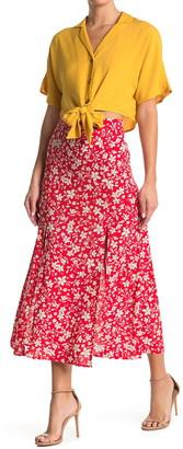 Topshop Austin Floral Slit Midi Skirt