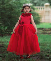 Scully Trish Child Girls' Special Occasion Dresses CRISMON - Crimson Bow-Acccent Aeralina Gown - Toddler & Girls