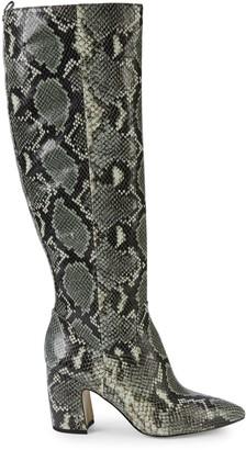 Sam Edelman Hai Croc-Embossed Leather Knee-High Boots