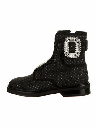 Roger Vivier Crystal Embellishments Combat Boots w/ Tags Black