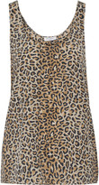 Equipment Kaylen leopard-print washed-silk tank