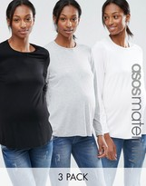 Asos Crew Neck Top With Long Sleeves 3 Pack