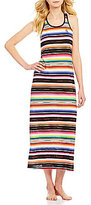Lauren Ralph Lauren Striped Slub Jersey Racerback Maxi Lounge Dress
