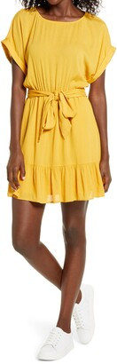 BB Dakota Belted Short Sleeve Crinkle Woven Dress