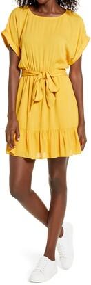 BB Dakota Belted Short Sleeve Crinkle Woven Dress