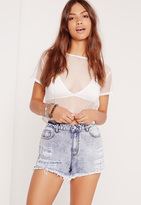Missguided High Waisted Denim Shorts Blue