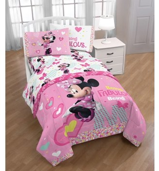 Disney Minnie Mouse Pink & White Kid's Bed Sheet Set
