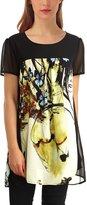 EA Selection Women's Casual Floral Print Short Sleeve Chiffon Tunic Blouse Tops L
