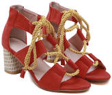 Lola Shoes LoLa Shoes Women's Sandals Red - Red & White Polka Dot Rope-Tie Cutout Sandal - Women