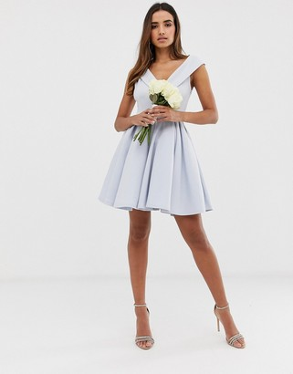 Club L London bridesmaid bardot detail skater dress