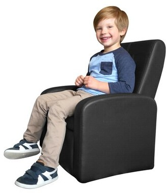 Harriet Bee Rona Kids Recliner Chair with Ottoman and Storage Compartment Color: Black