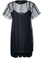 Sacai layered open embroidery dress - women - Cotton/Polyester - 2