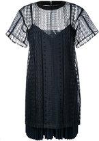 Sacai layered open embroidery dress