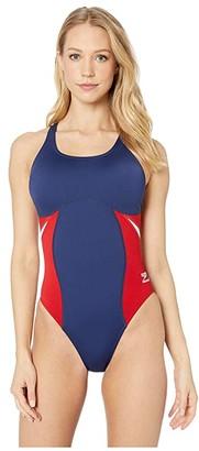 Speedo Spark Splice Super Pro One-Piece (Navy/Red) Women's Swimsuits One Piece