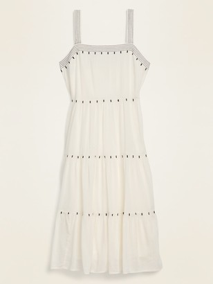 Old Navy Tiered Embroidered Midi Swing Dress for Women