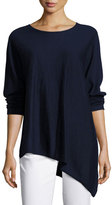 Eileen Fisher Cashmere Asymmetric Tunic, Midnight, Petite