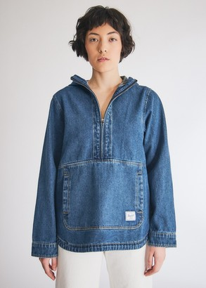 Herschel Women's Denim Anorak Jacket in Denim, Size Extra Small | 100% Cotton