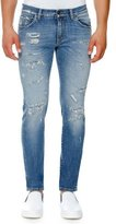Dolce & Gabbana Distressed Stretch-Denim Skinny Jeans, Light Blue