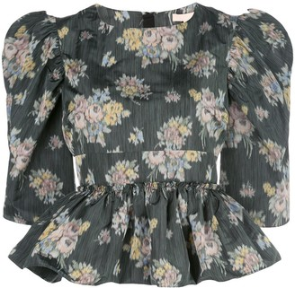 Brock Collection Puff Sleeve Peplum Floral Top