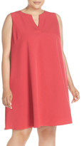 Adrianna Papell Sleeveless Split Neck Trapeze Dress (Plus Size)