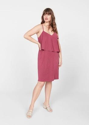MANGO Violeta BY Ruffled ribbed dress blue - 10 - Plus sizes
