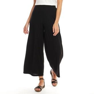 Fluid Womens Wide Leg 3/4 Trousers Black